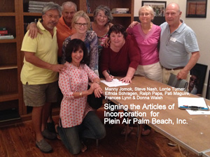 Signing the papers to file PAPB as a Florida Not for Profit Corp.